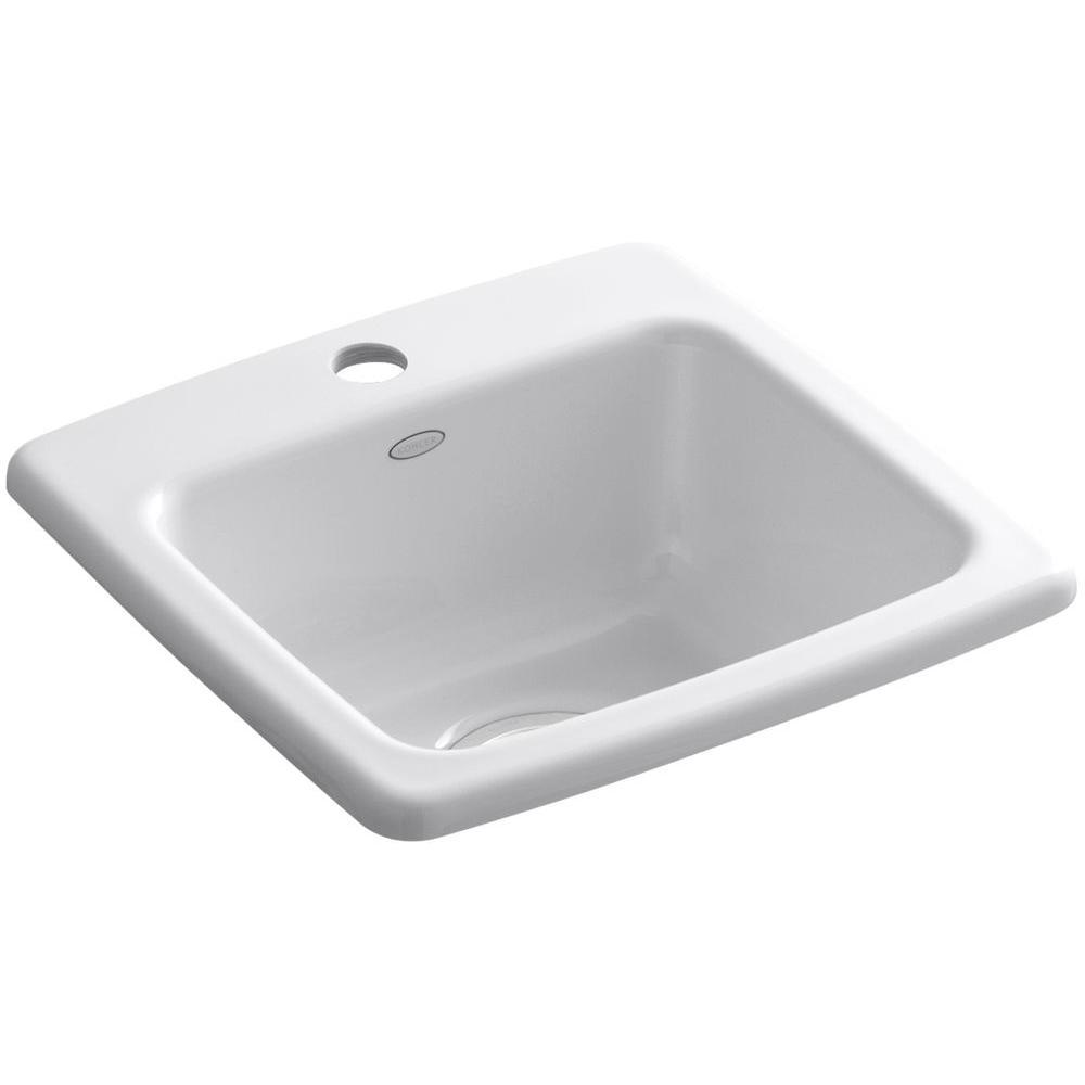 Gimlet Drop-In Acrylic 15 in. 1-Hole Single Bowl Bar Sink in White