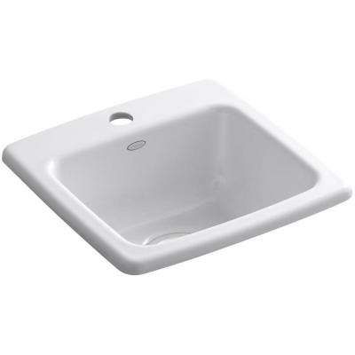 Gimlet Drop-In Acrylic 15 in. 1-Hole Single Bowl Bar Sink in White