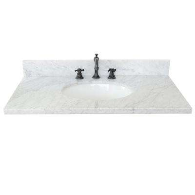 Ragusa 37 in. W x 22 in. D Marble Single Basin Vanity Top in White with White Oval Basin