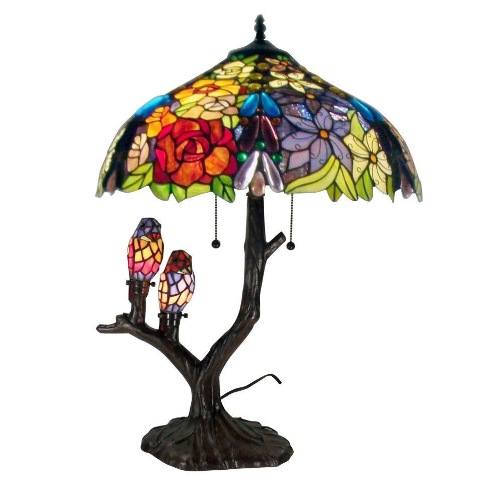 Warehouse of tiffany 25 in floral birds multicolored brown table floral birds multicolored brown table lamp 32463094abbb888 the home depot mozeypictures Choice Image