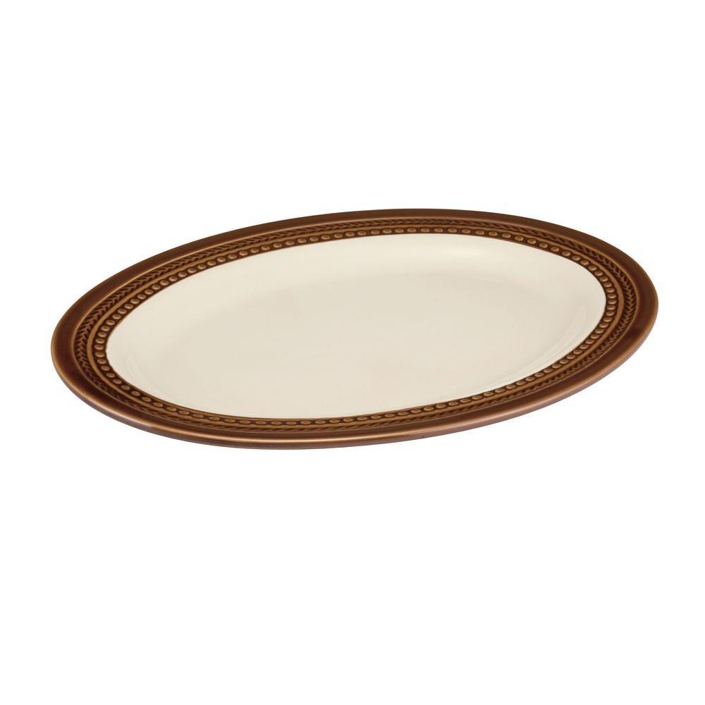 Paula Deen Signature Dinnerware Southern Gathering 10 inch x 14 inch Oval Platter in Chestnut by Paula Deen