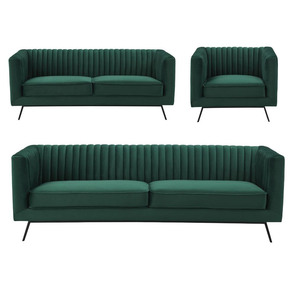 Manhattan comfort vandam 3 piece hunter green velvet sofa loveseat and armchair set