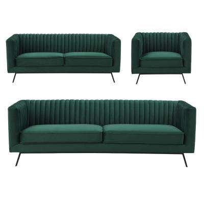 Vandam 3-Piece Hunter Green Velvet Sofa, Loveseat, and Armchair Set