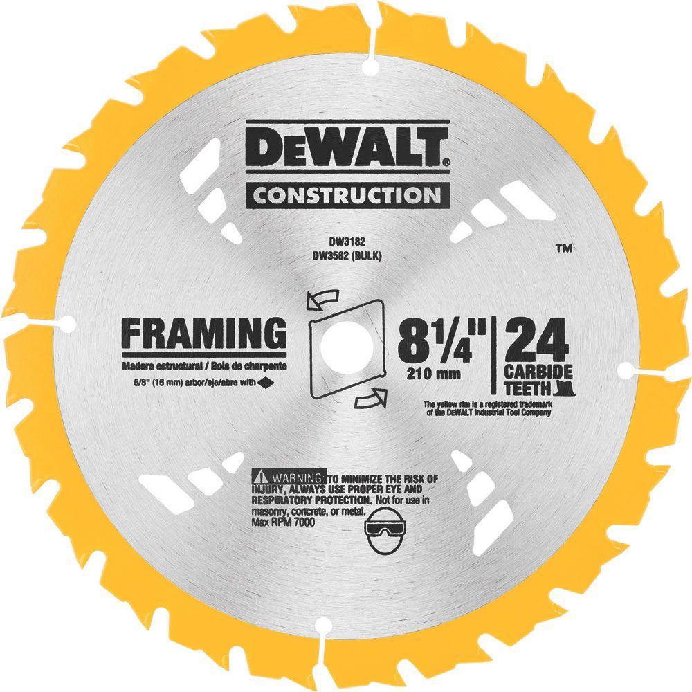 Dewalt 8-1/4 inch 24T Carbide Framing Circular Saw Blade by DEWALT