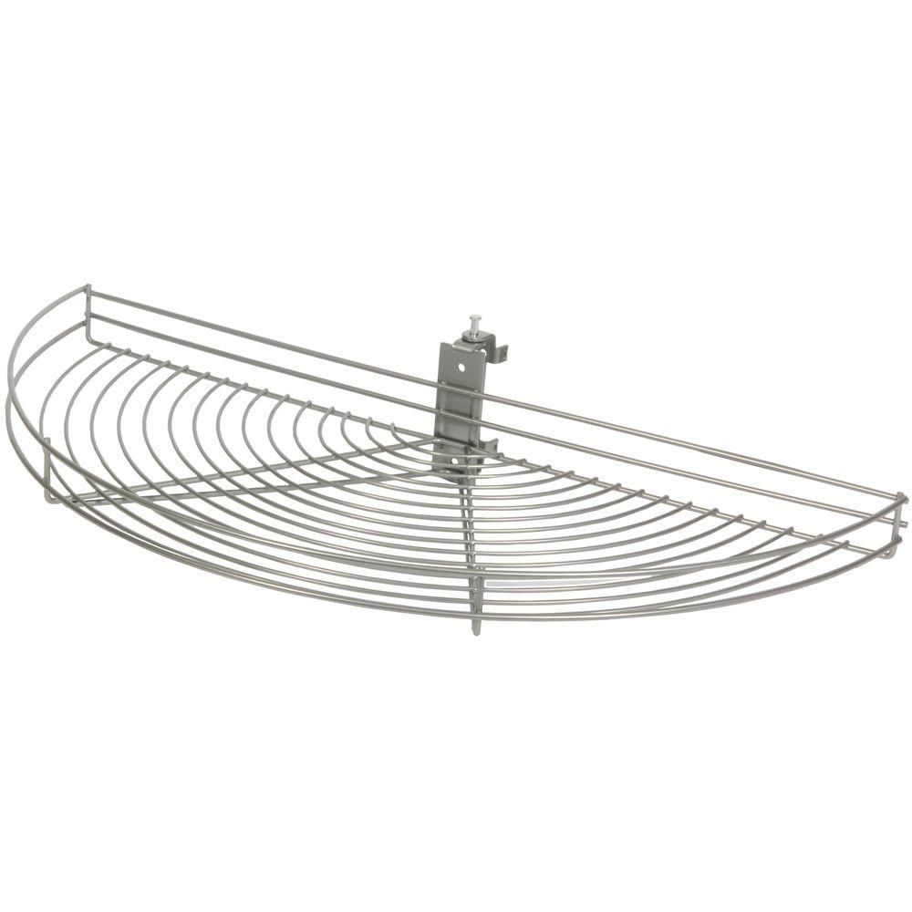 Knape & Vogt 3.25 in. H x 33.5 in. W x 16.19 in. D Pivot-Out Half Moon Frosted Nickel Wire Lazy Susan