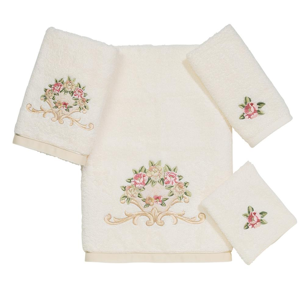 Premier Royal Rose 4-Piece Bath Towel Set in Ivory
