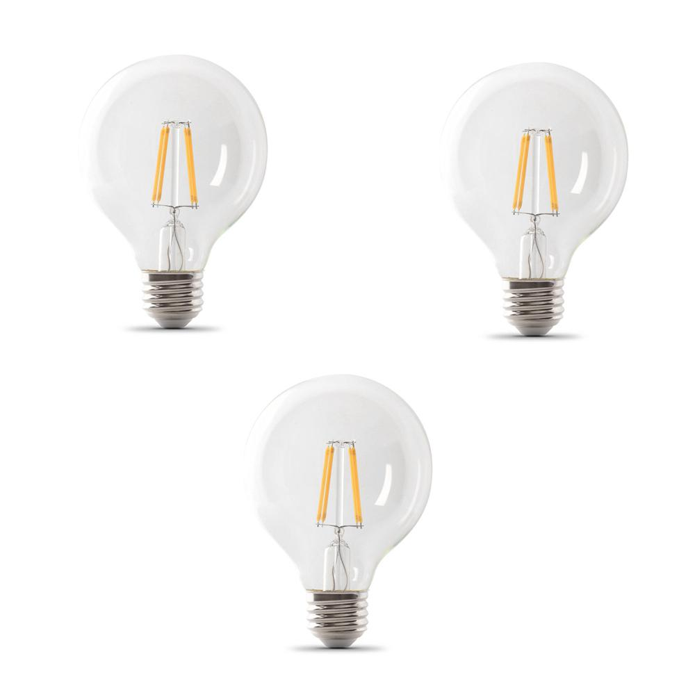 Feit Electric 40-Watt Equivalent G25 Dimmable Filament CEC Title 20 LED ENERGY STAR 90+ CRI Clear Glass Light Bulb Soft White (3-Pack)