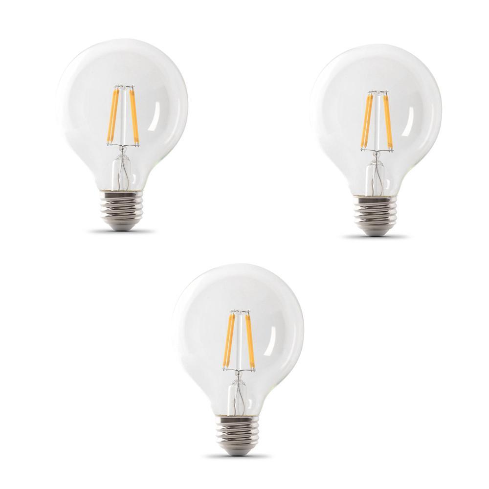 40-Watt Equivalent G25 Dimmable Filament ENERGY STAR Clear Glass LED Light Bulb, Soft White (3-Pack)