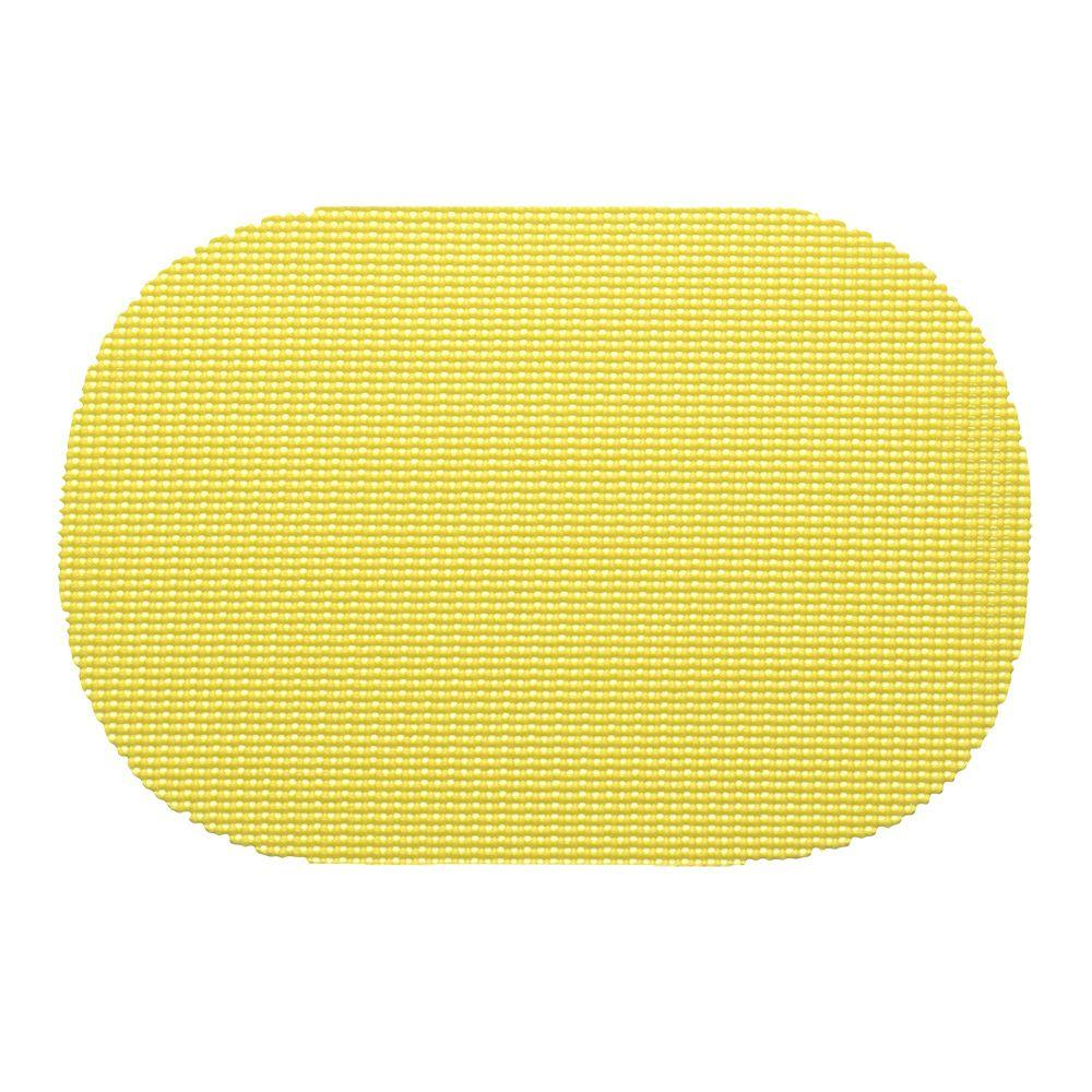 Kraftware Fishnet Oval Placemat in Lemon (Set of 12), Yellows/Golds
