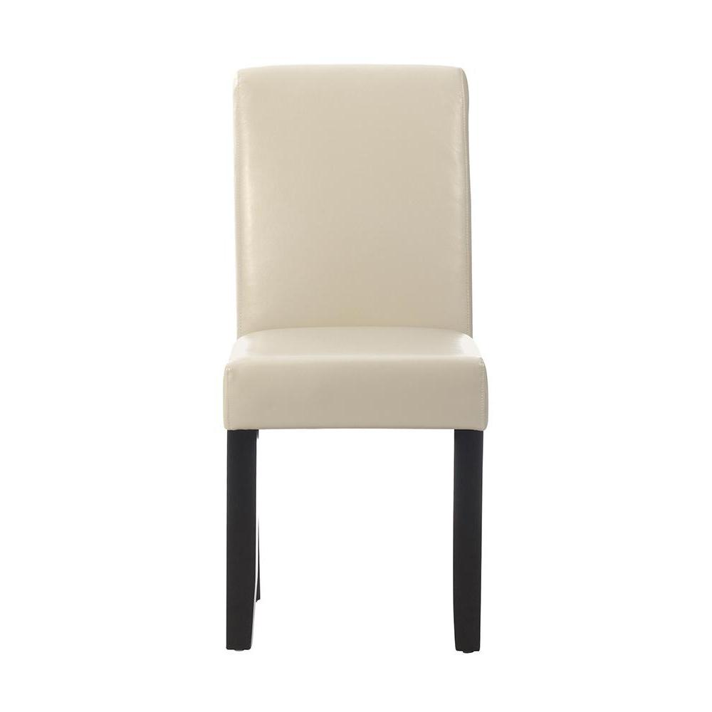 Parsons Cream Bonded Leather Rolled Back Dining Chair