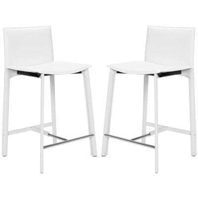 Janet 24.6 in. White Cushioned Bar Stool (Set of 2)