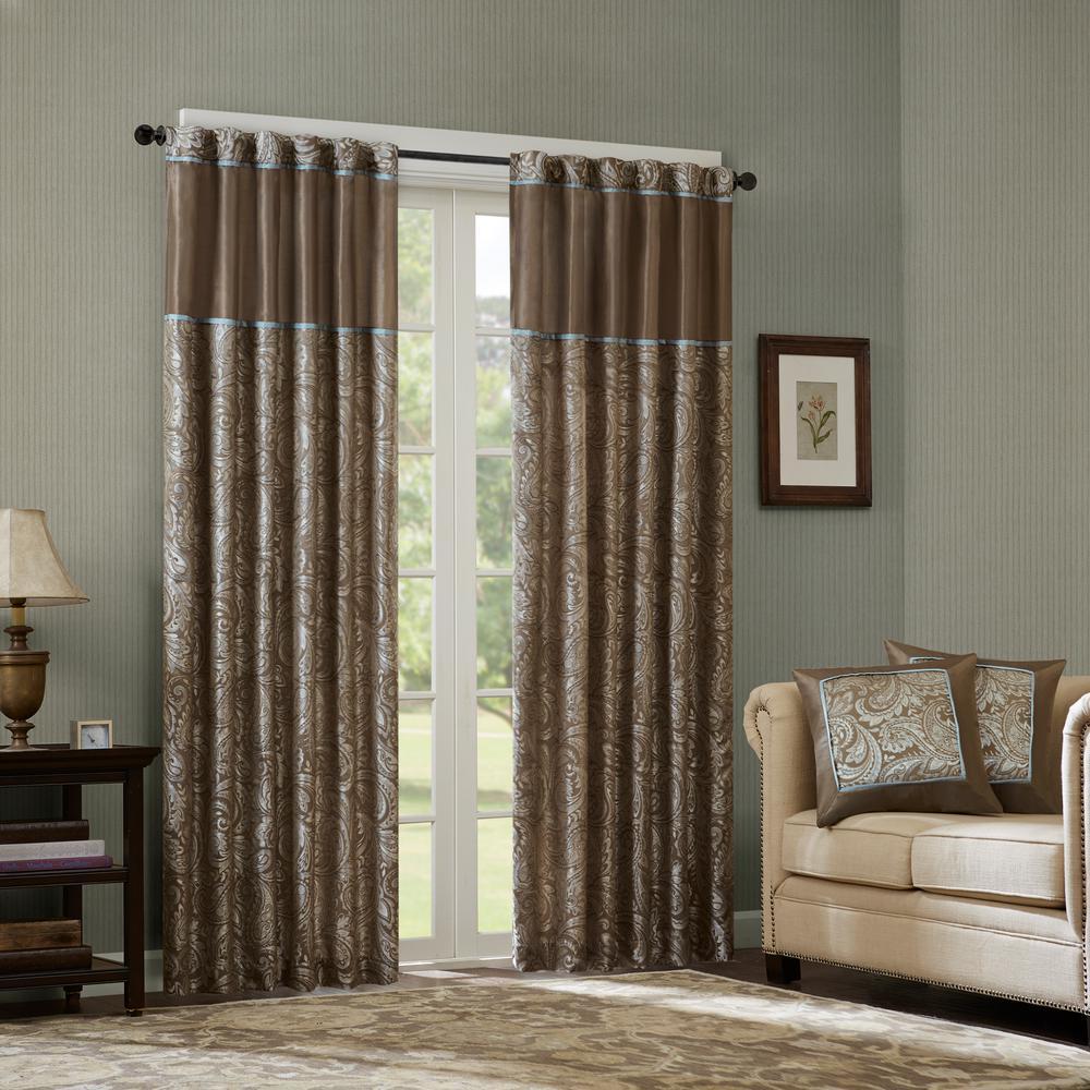 Madison Park Whitman Blue Brown Room Darkening Curtain 50 In X 84 2 Jacquard Panel Pair