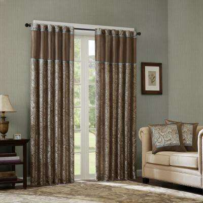 Whitman Blue/Brown Room Darkening Curtain 50 in. x 84 in. (2) Jacquard Panel Pair