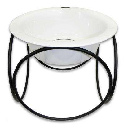 Platinum Pets 3.5 Cup Olympic Single Diner Feeder with Dog Bowl, Pearl White