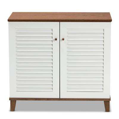 Coolidge 28 in. H x 30 in. W 12-Pair White and Walnut Wood Shoe Storage Cabinet with Shelves