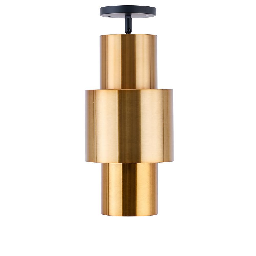 Arca 1-Light Brushed Antique Copper Art Deco Semi-Flush Mount Lamp