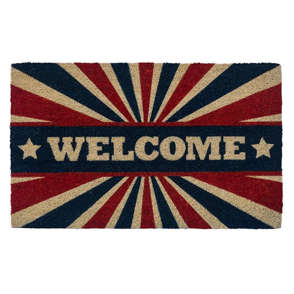 Patriotic Welcome 28 in. x 17 in. Non-Slip Coir Door Mat
