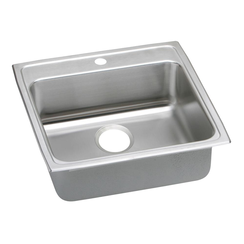 Elkay lustertone drop in stainless steel 22 in 1 hole for Colored stainless steel sinks