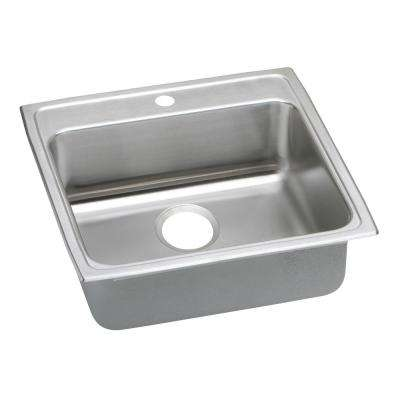 Lustertone Drop-In Stainless Steel 22 in. 1-Hole Single Bowl ADA Compliant Kitchen Sink with 6.5 in. Bowl