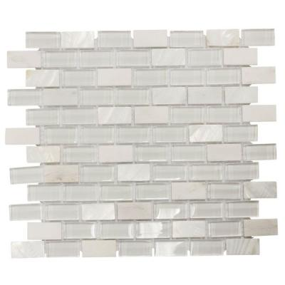 Polar Cap White 11.5 in. x 10.5 in. Interlocking Glass, Shell and Marble Mosaic Tile (0.838 sq. ft./Each)