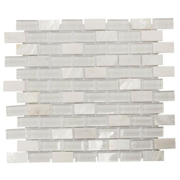 Polar Cap 12.5 in. x 10.75 in. x 8 mm Interlocking Glass/White Marble Mosaic Tile