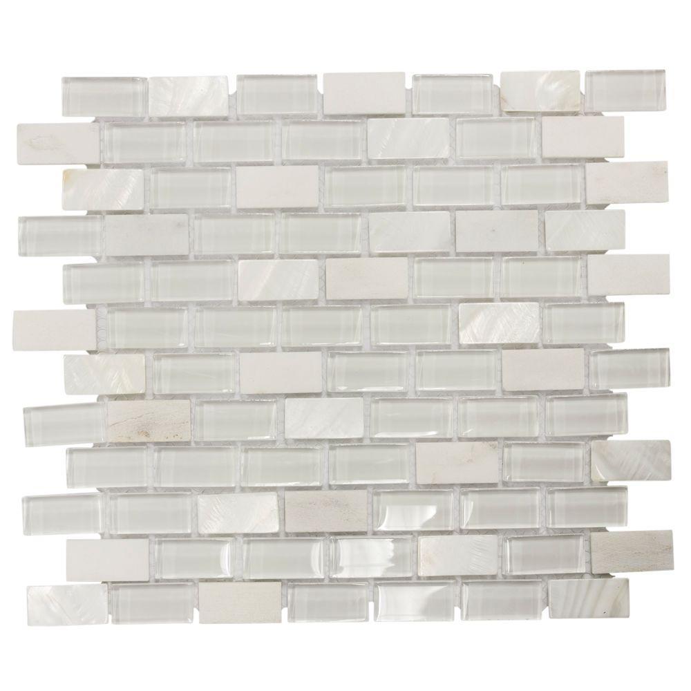 jeffrey court polar cap 12 5 in x in x 8 mm glass white marble mosaic wall tile 99594. Black Bedroom Furniture Sets. Home Design Ideas