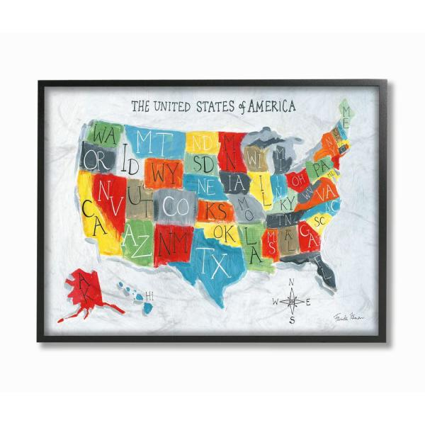 16 in. x 20 in. ''Colorful World Map of USA Kids Nursery Painting'' by Farida Zaman Framed Wall Art