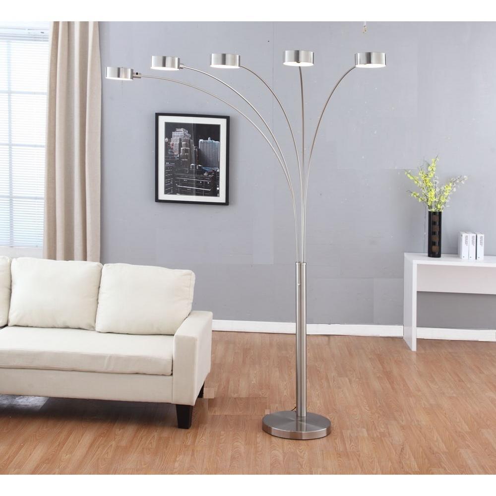Brushed Steel 5 Light Floor Lamp, Floor Lamps For Living Room Modern