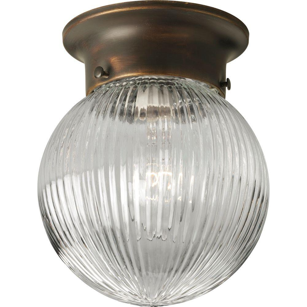Progress Lighting 6 In 1 Light Antique Bronze Flushmount With Clear Ribbed Gl