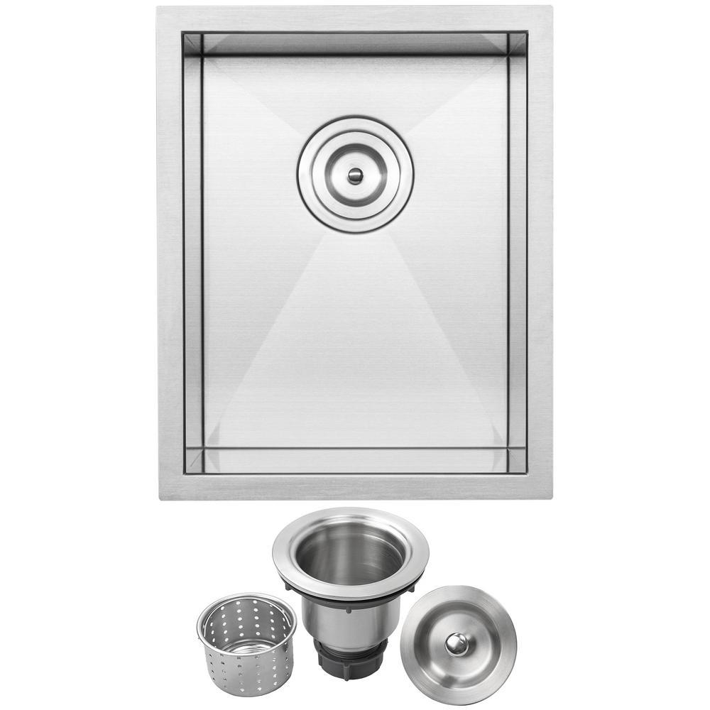 Pacific Zero Radius Undermount 16-Gauge Stainless Steel 14 in. Single Basin Kitchen and Bar Sink with Basket Strainer