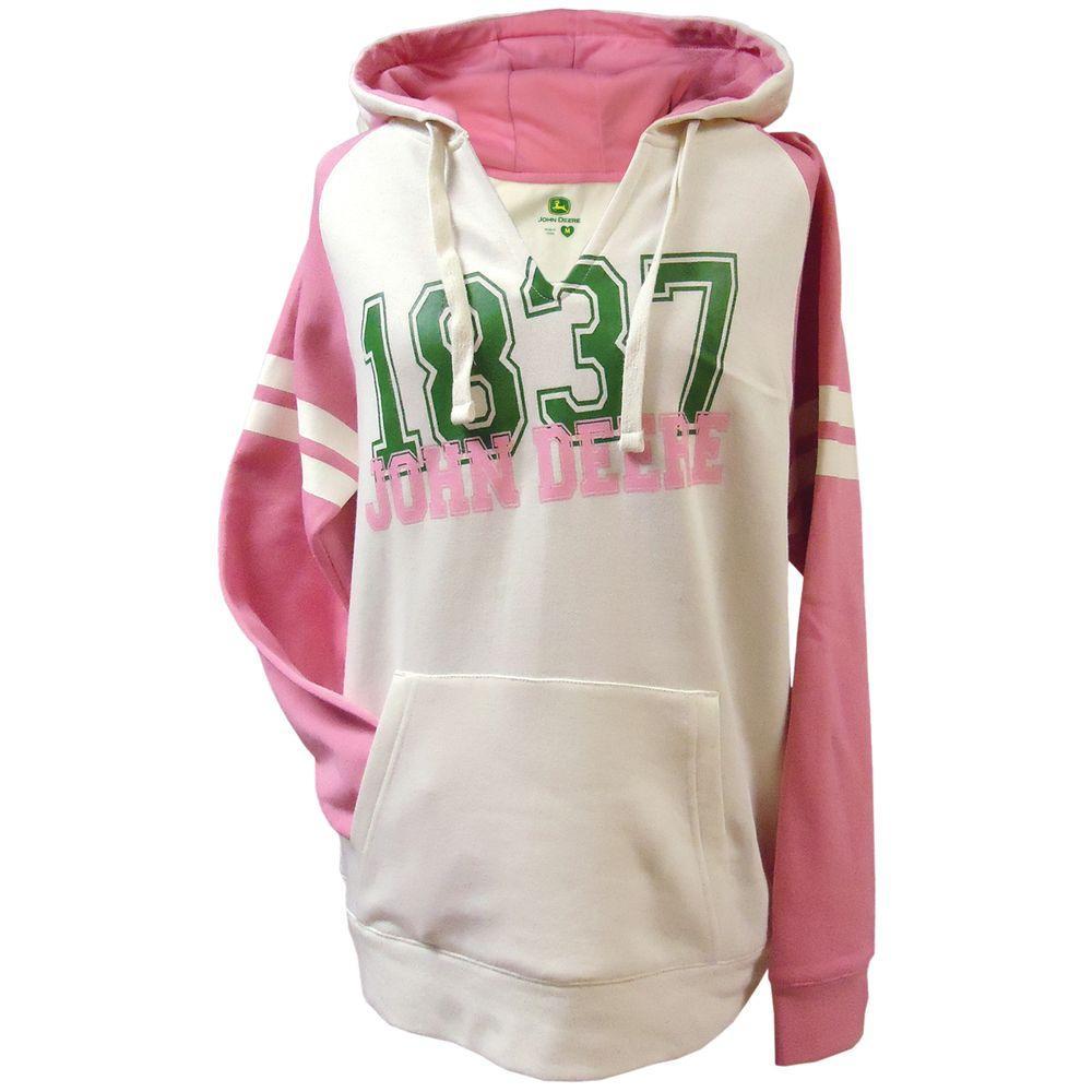 John Deere Ladies 1837 V-Neck Raglan Hooded Sweatshirt in Pink - XX Large