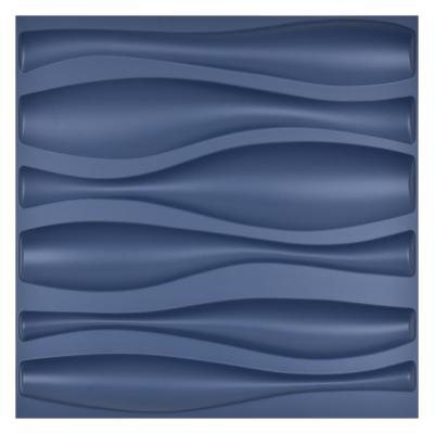 19.7 in. x 19.7 in. 3D PVC Decorative Wall Panels Wave Navy Blue (12-Pack)
