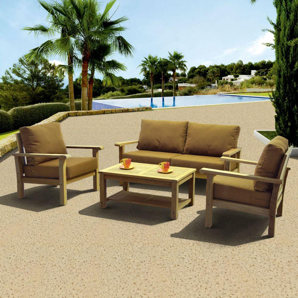 Gilli 4-Piece Deep Patio Seating Set with Sunbrella Teak Color Cushions