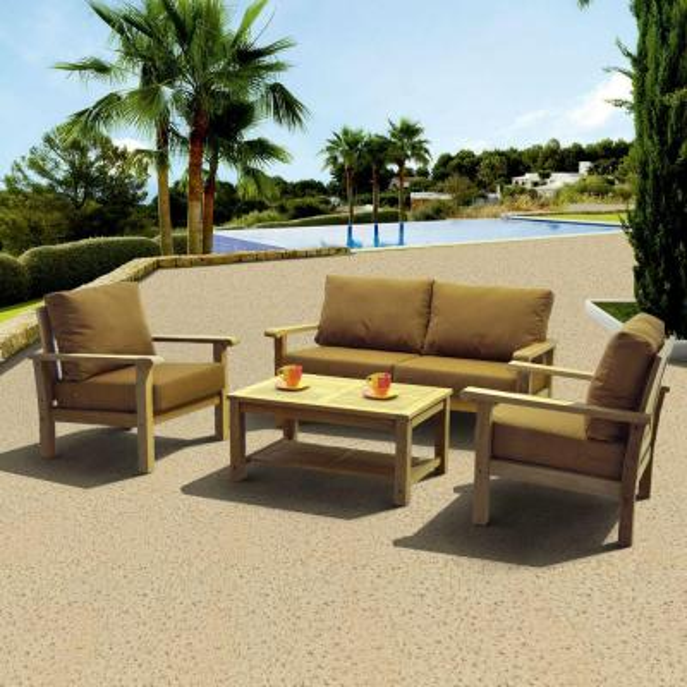 Gilli 4-Piece Deep Patio Seating Set with Sunbrella Teak Color Cushions