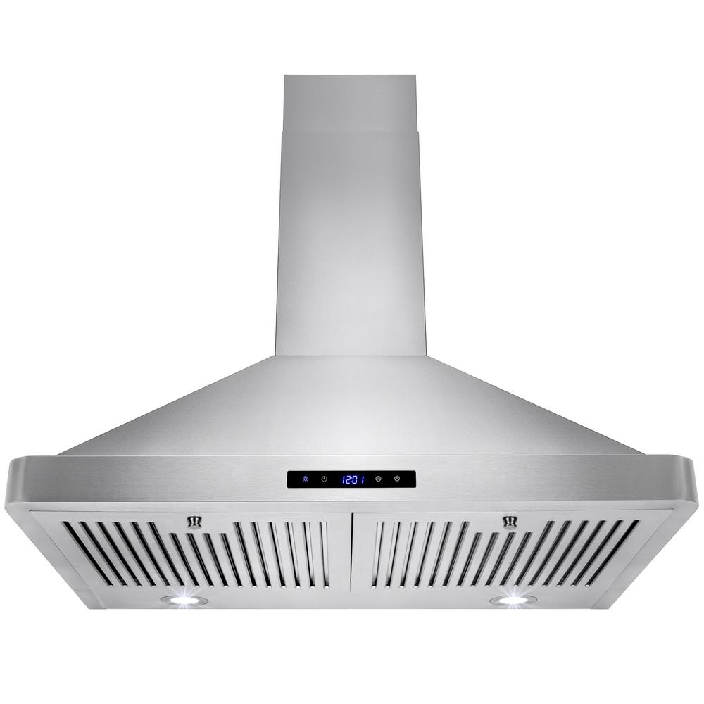 AKDY 30 in. Convertible Kitchen Wall Mount Range Hood in Stainless Steel with LEDs and Touch Control