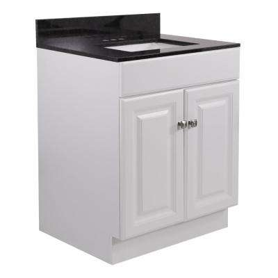 24 21 in. x 31.5 in. 2-Door Bath Vanity in White w/ Black Pearl Granite Vanity Top w/ Rectangle Basin in White