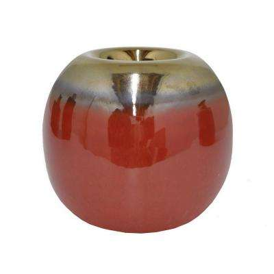 3.25 in. Red Ceramic Candle Holder