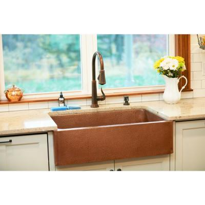 Corbet All-in-One Farmhouse Apron-Front Copper 30 in. Single Bowl Kitchen Sink with Pfister Bronze Faucet and Drain
