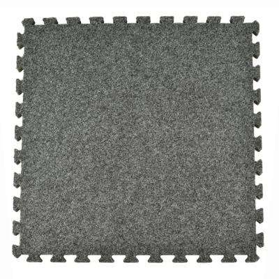 Royal Dark Gray Carpet Velour Plush 10 ft. x 10 ft. x 5/8 in. Interlocking Carpet Tile 96.875 sq. ft. (25 piece Kit)