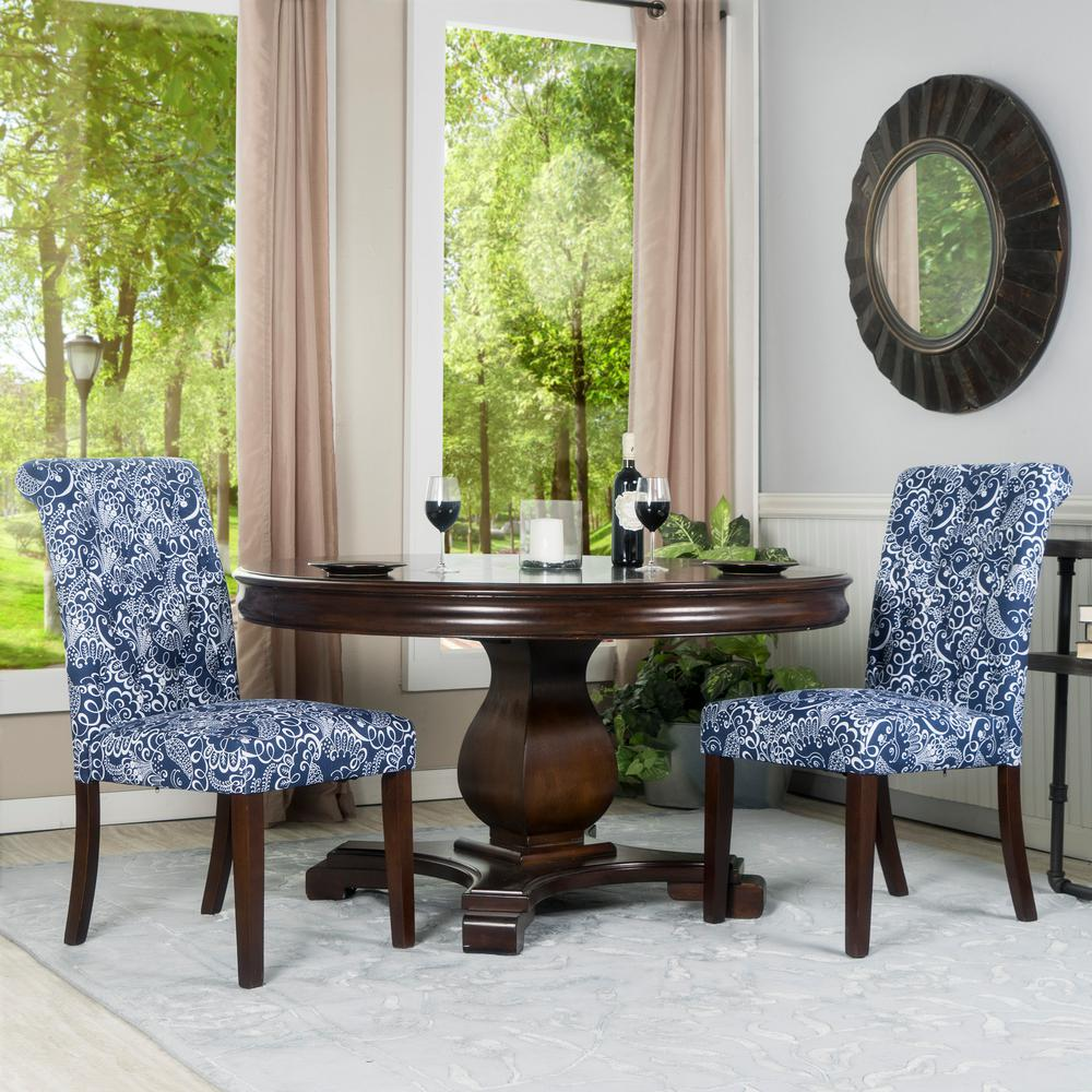 Good Crawford U0026 Burke Berkley Blue And White Linen Tufted Dining Parsons Chair  (Set Of 2) 201521 D2   The Home Depot