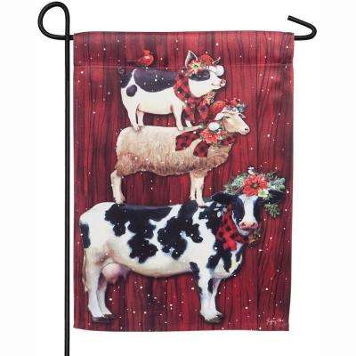 18 in. x 12.5 in. Christmas Farm Stack Garden Suede Flag