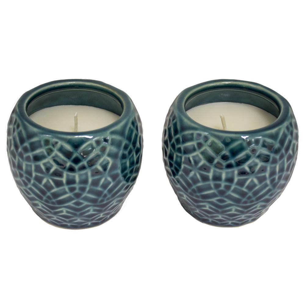 Trendspot 4 in. Aqua Rivage Ceramic Citronella Candles, Set of 2