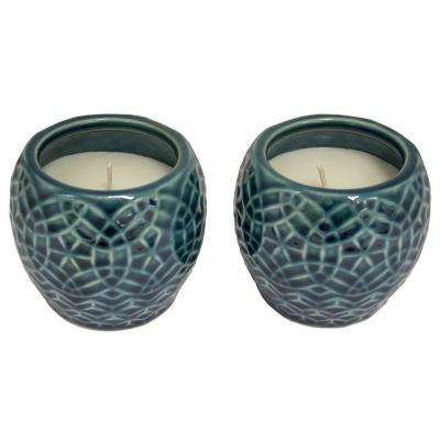 4 in. Aqua Rivage Ceramic Citronella Candles, Set of 2