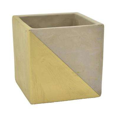 4.75 in. Gray and Gold - Gold Flower Pot