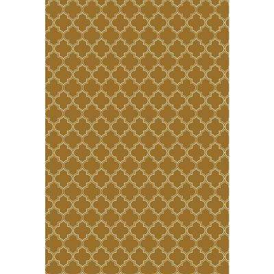 Quaterfoil Design 2ft x 3ft brown & white Indoor/Outdoor vinyl rug.