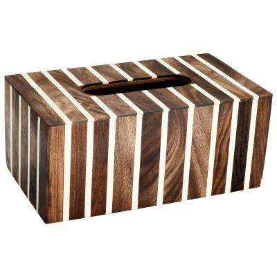 Striped Tissue Box Cover in White and Wood