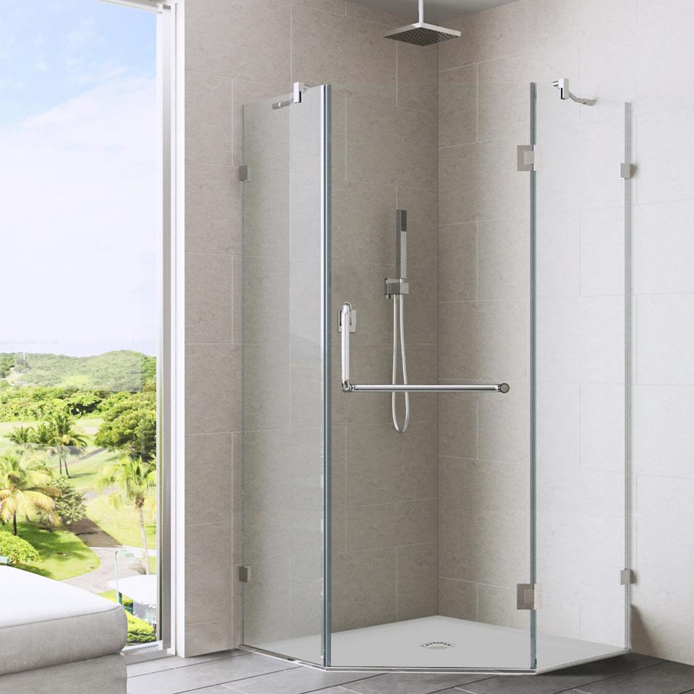 VIGO Piedmont 34.125 in. x 73.375 in. Semi-Framed Neo-Angle Shower Enclosure in Brushed Nickel with Clear Glass
