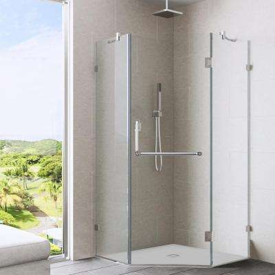 Piedmont 34.125 in. x 73.375 in. Semi-Framed Neo-Angle Shower Enclosure in Brushed Nickel with Clear Glass
