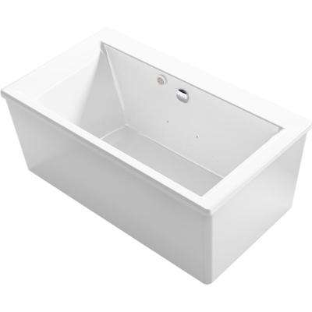 Stargaze 60 in. Acrylic Flatbottom Air Bath Bathtub with Straight Shroud in White