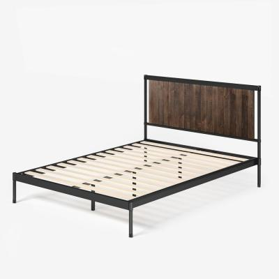 Wesley Brown Full Metal and Wood Platform Bed